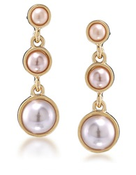 Carolee Peach Blossom Goldtone Faux Pearl Drop Earrings