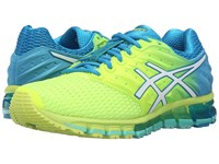 Asics Gel Quantum 180 2 Safety Yellow White Blue Jewel Women's Running Shoes