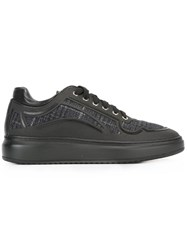 Pollini Contrast Panel Lace Up Sneakers Black