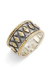 Women's Konstantino 'Hebe' Geo Pattern Band Ring Silver Gold