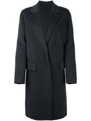 Yves Salomon Buttoned Knee Length Coat Grey