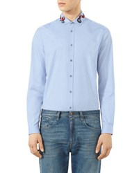 Gucci Snake Embroidered Button Down Shirt Blue