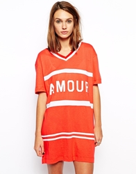 Zoe Karssen Oversized Sporty T Shirt Dress With Amour Print Red
