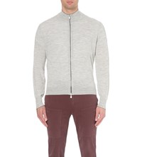 Brunello Cucinelli Zip Up Wool And Cashmere Blend Cardigan Pearl