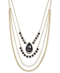 Inc International Concepts Gold Tone Black Crystal Layered Necklace Only At Macy's