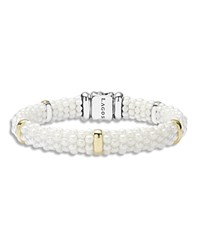 Lagos White Caviar Ceramic And 18K Gold 5 Station Bracelet