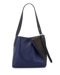 Reed Krakoff Krush Asymmetric Colorblock Leather Tote Bag Blue Black