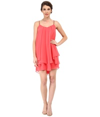 Badgley Mischka Tiered Chiffon Ruffle With Beaded Straps Coral Women's Dress