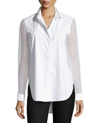 Elie Tahari Delma Embellished Button Front Blouse White