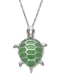 Macy's Dyed Jadeite Turtle Pendant Necklace In Sterling Silver