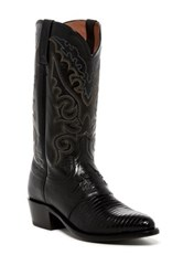 Lucchese Genuine Lizard And Leather Embroidered Western Boot Black