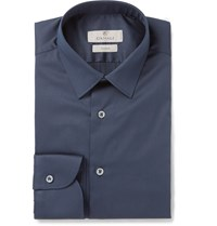 Canali Navy Stretch Cotton Blend Shirt Blue