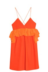 Victoria Beckham Ruffle Front Dress Orange
