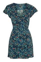 Topshop Ditsy Floral Wrap Dress Blue