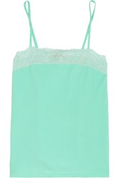 Cosabella Lucia Lace Trimmed Cotton Blend Camisole Green