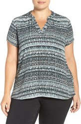 Sejour Plus Size Women's Split Neck Short Sleeve Blouse Black Grey Print