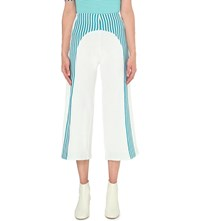Richard Malone Cropped Striped Knit Trousers White