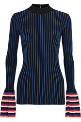 Emilio Pucci Striped Ribbed Knit Sweater Navy