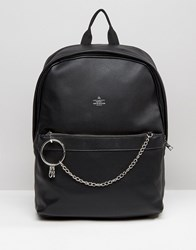 Asos Backpack With Chain Detail Black
