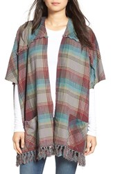 Billabong Women's 'Forever Fall' Plaid Kimono Cardigan Thunder Cloud
