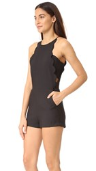 English Factory Scallop Romper Jet Black