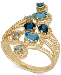 Macy's Blue Topaz 1 1 6 Ct. T.W. And Diamond 1 3 Ct. T.W. Statement Ring In 14K Gold Yellow Gold