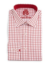 English Laundry Check Woven Dress Shirt Red