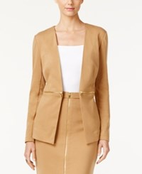 Grace Elements Faux Zipper Waist Jacket Tan