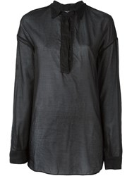 Kristensen Du Nord Sheer Button Blouse Black