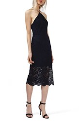 Topshop Women's Triangle Neck Geo Lace Midi Dress Navy Blue