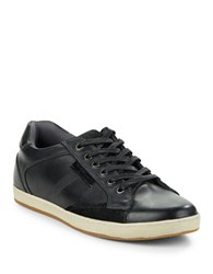 Steve Madden Peamont Leather Sneakers Black Leather