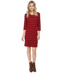 Culture Phit Ainsley Round Neck Sweater Dress Burgundy White Women's Dress