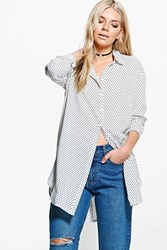 Boohoo Polka Dot Oversized Shirt White