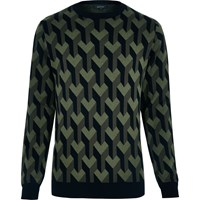 River Island Mens Dark Green 3D Pattern Jumper