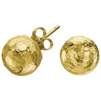 Dower And Hall 18Ct Gold Plated Sterling Silver Hammered Nomad Ball Stud Earrings Gold