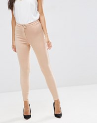 Asos Rivington High Waisted Denim Jeggings In Nude Nude Pink