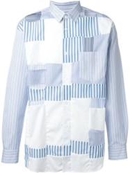Comme Des Gara Ons Shirt Patched Cut Out Striped Shirt Blue