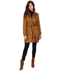 Jessica Simpson Sueded Rain Trench With Stitching Detail Single Breasted Belted Cognac Women's Coat Tan