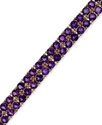 Macy's Amethyst Two Row Bracelet In 14K Rose Gold Over Sterling Silver 14 1 10 Ct. T.W.