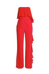 Elie Saab Ruffled Jumpsuit Red