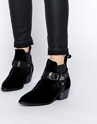 Tba To Be Announced Assault Western Ankle Boots Blackfabric