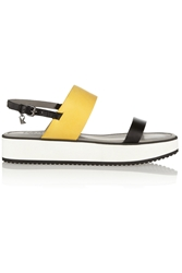 Karl Lagerfeld Color Block Matte Leather Sandals Yellow