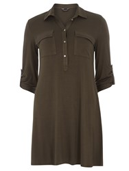 Dorothy Perkins Jersey Shirt Swing Dress Green