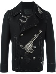 Dolce And Gabbana Applique Double Breasted Coat Black
