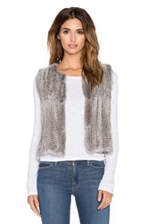 525 America Real Natutral Rabbit Fur Vest Gray