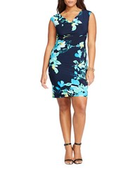 Lauren Ralph Lauren Plus Floral Ruched Dress Lighthouse Navy Blue