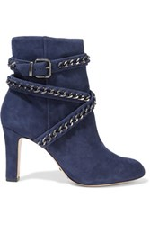 Schutz Chain Embellished Suede Ankle Boots Storm Blue