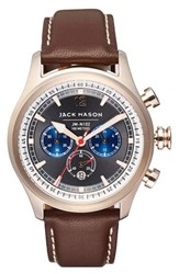 Men's Jack Mason Brand Nautical Chronograph Leather Strap Watch 42Mm Grey Brown