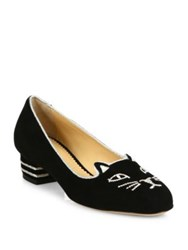 Charlotte Olympia Kitty Suede Block Heel Loafer Pumps Black