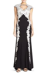 Women's Betsy And Adam Embroidered Mesh And Jersey Mermaid Gown